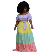 Plus Size Women Boat Neck Short Puff Sleeve Colors Patchwork Belted Maxi Dress