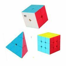 Qiyi 3pcs Stickerless Speed Magic Cube Bundle Qidi S 2x2 Warrior W 3x3 Pyramid