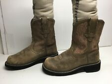 VTG WOMENS ARIAT ATS FATBABY COWBOY SUEDE LIGHT BROWN BOOTS SIZE 7 B