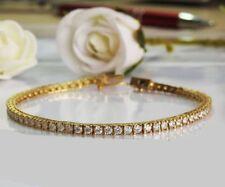 5CT Round Brilliant Cut D/VVS1 Diamond Tennis Bracelet 14K Yellow Gold Finish