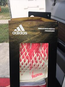 New ADIDAS Predator 20 Match Fingersave White GK Goalkeeper Gloves Adult Size 9