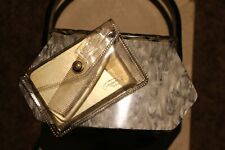 1950's Vintage Llewellyn Gray Pearlized Lucite Purse Handbag