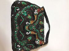 Vintage Beaded Purse Belgium in Box Black Green Gold Thread Handbag Satin Lined