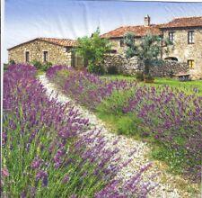 4 Single paper decoupage napkins.Lavender fields design. France-587