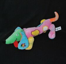 Peluche doudou chien PETIT JOUR rose vert bleu jaune langue rouge 31cm long TTBE