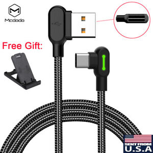 MCDODO 90 Degree Right Angle Braided USB Charger Charging Sync Type C Cable Cord