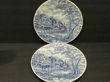 """Royal Wessex BLUE Stage Coach Scene SET OF 2 DINNER PLATES Swirl Edge - 10"""""""