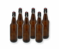 G. Francis Swing Top Bottles w/ Caps - 16.9oz, Amber Glass, Reusable