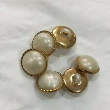 6 Gold Shank Button With Pearl Detail  12mm