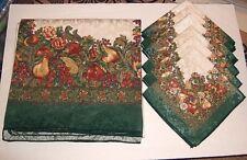 "Vtg Christmas Tablecloth Green & Gold Cornucopia Print 119"" x 58""+ 6 Napkins"