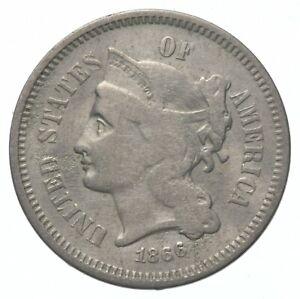 ***3***THREE***Cent*** - 1866 Three Cent Nickel Piece - Tough to Find *410