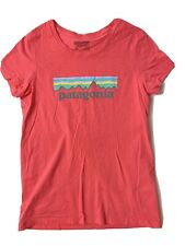 Patagonia Xl 14 Girls Worn Wear Logo Coral Pink Shirt Top Organic Cotton