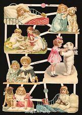 Die Cut Scrap German Victorian Style  Embossed -  Sweet Children & Bear  EF7395