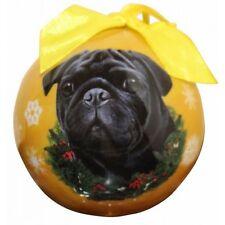 Pug Black Shatterproof Ball Dog Christmas Ornament