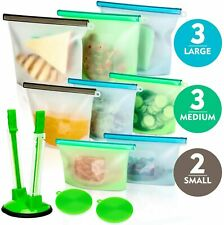 New listing Nikand Silicone Bags Reusable Silicone Food Bag (8 Pack)