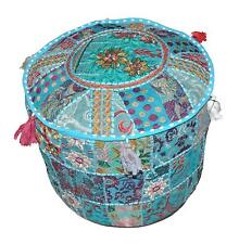 Indian Pouffe Footstool Cover Round Patchwork Embroidered Pouf Art Ottoman Case