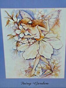 Fairy Garden Framed Print Fairy Playing Among The Blossom Flowers Blue Wood Fram