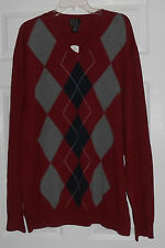 Jos. A. Bank Brick Red Argyle V Neck Cotton Sweater Size 2X NWOT