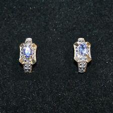 Created Tanzanite Genuine Diamond J Hoop Earrings 14k Yellow Gold over 925 SS