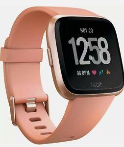 Fitbit Versa Fitness Smartwatch - Peach Band / Rose-Gold Aluminum Case New