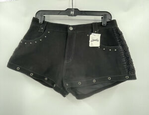 Free People Ready To Rock Micro Suede Shorts Studded 100% Leather Size 28