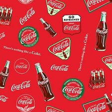 Sykel Enterprises Coca Cola 10066 X Bottles & Logo BTY Cotton Fabric
