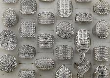 Job Lots 20pcs Full Crystal Rhinestone Silver P Wonderful Huge Girl/Women Rings