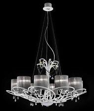 Lampadario classico di design laccato bianco e paralumi BELL aida 3013/L10L