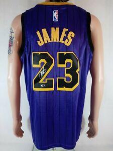 LEBRON JAMES SIGNED LOS ANGELES LAKERS PURPLE NIKE NBA JERSEY WITH TAGS & COA