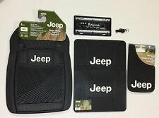 Jeep Automotive 8 Pc Gift Set Floor Mats Mud Guard License Plate Key Chain