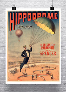 Spencer Parachute Circus Sideshow Poster Fine Art Print on Canvas or Paper