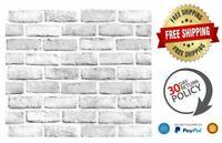 White Gray Brick Contact Paper Wallpaper Self-Adhesive Peel-Stick Backsplash New
