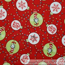 BonEful Fabric Cotton Quilt Red White Green Dr Seuss Cat in the Hat Xmas L SCRAP