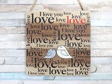 Lovebirds Love Wooden Hanging Love Sign Plaque