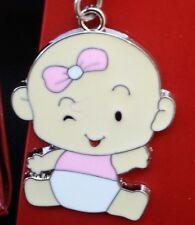 12 Baby Shower Favors Key Chains Girl Baby, Pink, Llaveros, Gift,Baby niña/