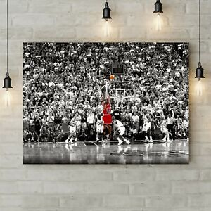 Michael Jordan Last Shot - Canvas Rolled Wall Art Print - Various sizes