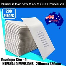 200 Pcs 215x280mm Bubble Padded Bag Mailer White Printed Kraft Cushion Envelope