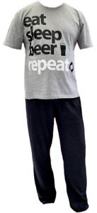 Men's Cotton Pyjamas Long Cotton Pjs Set Grey Black Beer Drinker Gift Lounge NEW