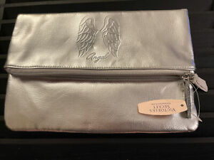 Victoria Secret Angel Fold Over Silver Clutch Bag Wallet Cosmetic Pouch New C12