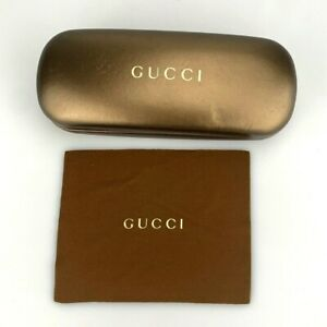 Gucci Sunglasses Case Only Gold Hardcase Clamshell Small + Cloth