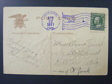 Bingen Indiana IN 1911 Flag Handstamp Cancel Postmark DPO 1871-1914 Adams County