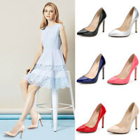 Women Ladies Patent Leather High Heels Stiletto Pumps Slip On Point Toe Shoes