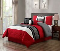 7Pc Queen Red Gray Black White Scroll Embroidered Comforter Set Bedding