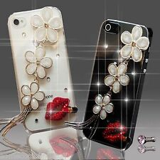 NUEVO 3D BRILLANTE LUJOSO FLOR DIAMANTES FUNDA 4 SAMSUNG iPHONE SONY HTC