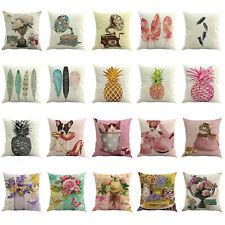 Flowers Printed Pillowcase Sofa Pillow Cover Car Cushion Cotton Throw Home Decor