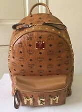 MCM Authentic Stark Collection Medium Cognac Spike Stud Backpack $950