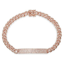 Womens 1.49 CT 14K Rose Gold Diamond Pave Rope Link Cuban Chain ID Bar Bracelet