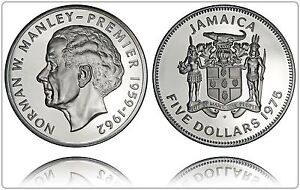 JAMAICA $5 1975 SILVER (GEM PROOF) *ONLY 16,000 MINTED*