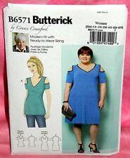Uncut Butterick Womens Plus Sz XXL-6XL Cold-Shoulder Dress & Top Pattern 6571