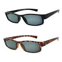 Retro Rectangular Magnified Tinted Lens Reading Sunglasses Spring Temples UV400